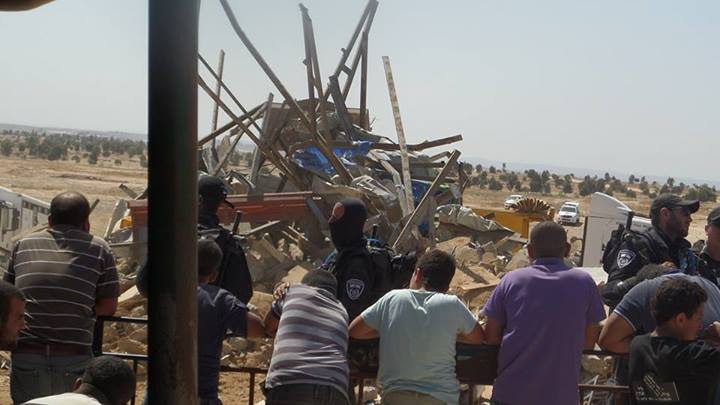 A demolition of the Bedouin village of Al-Araqib in 2014