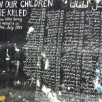 A memorial on the wall of Aida Refugee Camp to the children killed by Israel in 2014