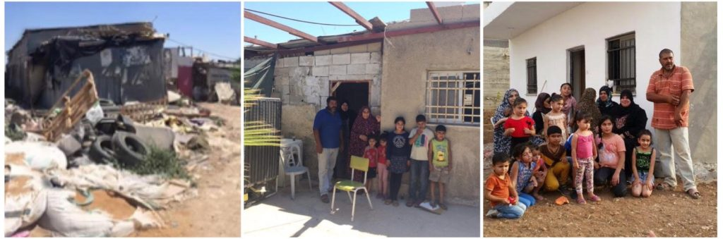 Hajaj Fhadad families' living conditions before and after ICAHD rebuilt their home in 2015. Image: ICAHD UK